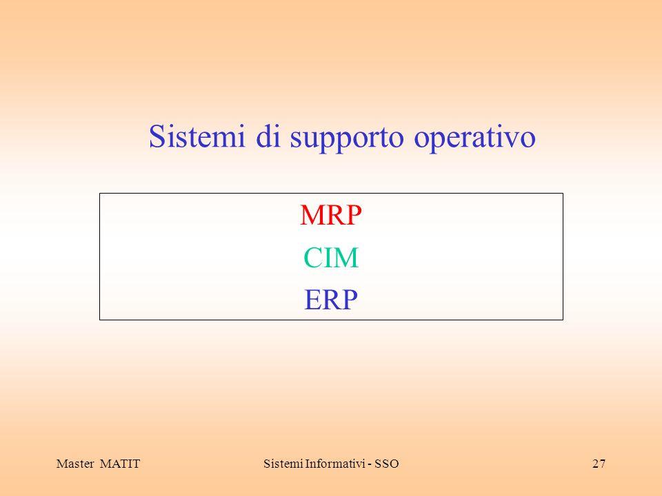 Master MATITSistemi Informativi - SSO27 Sistemi di supporto operativo MRP CIM ERP