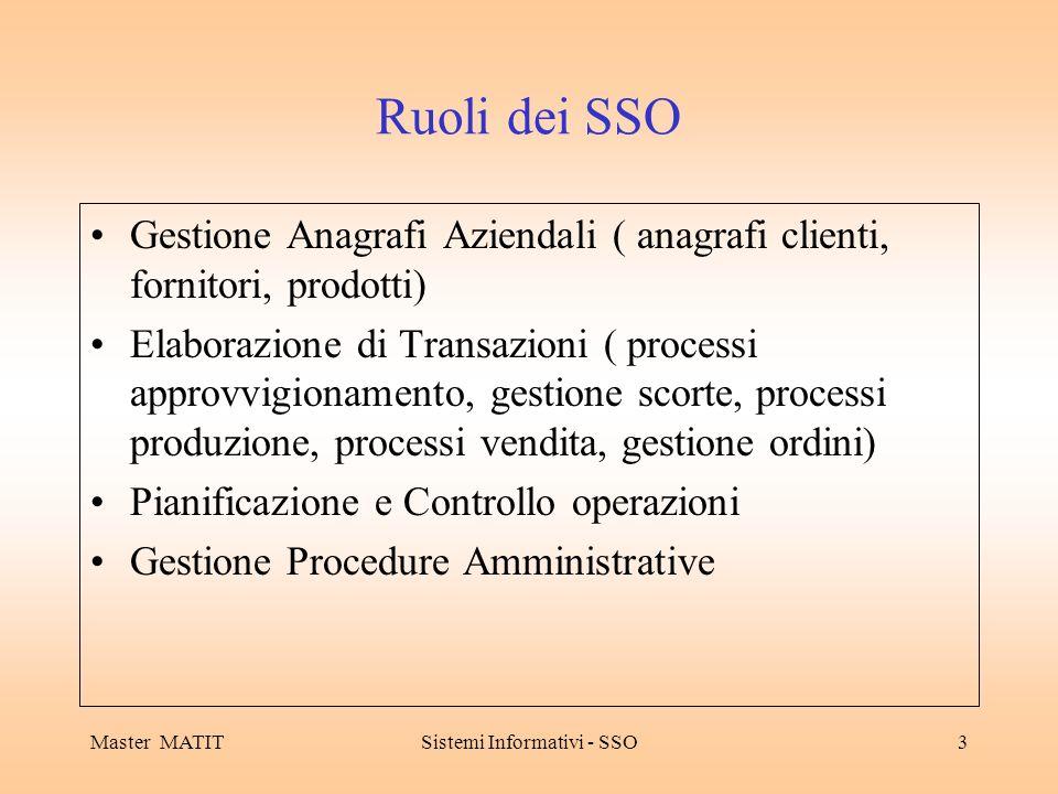 Master MATITSistemi Informativi - SSO3 Ruoli dei SSO Gestione Anagrafi Aziendali ( anagrafi clienti, fornitori, prodotti) Elaborazione di Transazioni