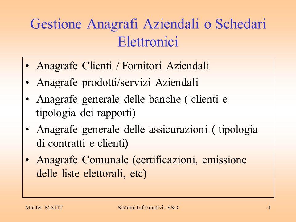 Master MATITSistemi Informativi - SSO4 Gestione Anagrafi Aziendali o Schedari Elettronici Anagrafe Clienti / Fornitori Aziendali Anagrafe prodotti/ser