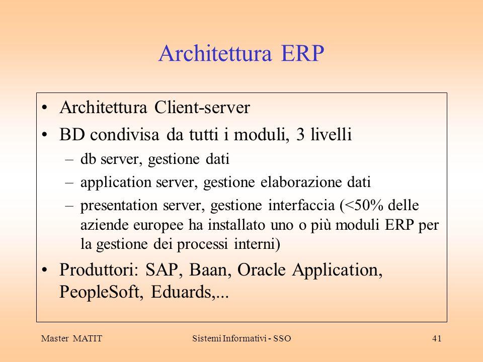 Master MATITSistemi Informativi - SSO41 Architettura ERP Architettura Client-server BD condivisa da tutti i moduli, 3 livelli –db server, gestione dati –application server, gestione elaborazione dati –presentation server, gestione interfaccia (<50% delle aziende europee ha installato uno o più moduli ERP per la gestione dei processi interni) Produttori: SAP, Baan, Oracle Application, PeopleSoft, Eduards,...