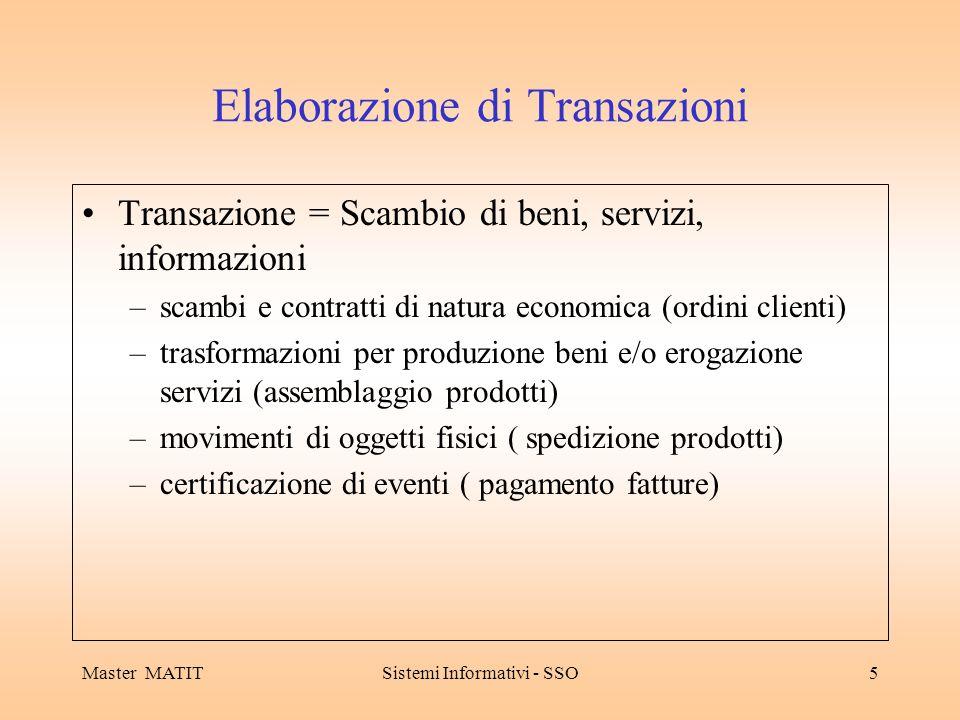 Master MATITSistemi Informativi - SSO5 Elaborazione di Transazioni Transazione = Scambio di beni, servizi, informazioni –scambi e contratti di natura