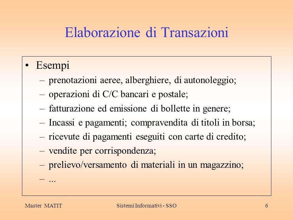 Master MATITSistemi Informativi - SSO6 Elaborazione di Transazioni Esempi –prenotazioni aeree, alberghiere, di autonoleggio; –operazioni di C/C bancar