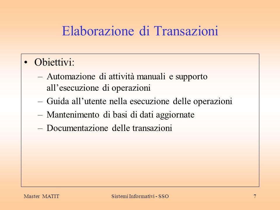 Master MATITSistemi Informativi - SSO7 Elaborazione di Transazioni Obiettivi: –Automazione di attività manuali e supporto allesecuzione di operazioni