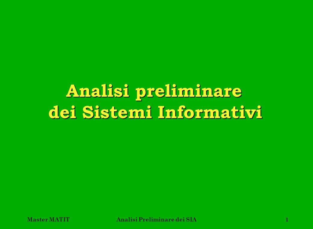 Master MATITAnalisi Preliminare dei SIA12 Importanza della matrice processi/ classi di informazioni Le aree di business sono perciò gli elementi invarianti rispetto alla organizzazione e sono dunque il punto di partenza classico delle metodologie top-down.