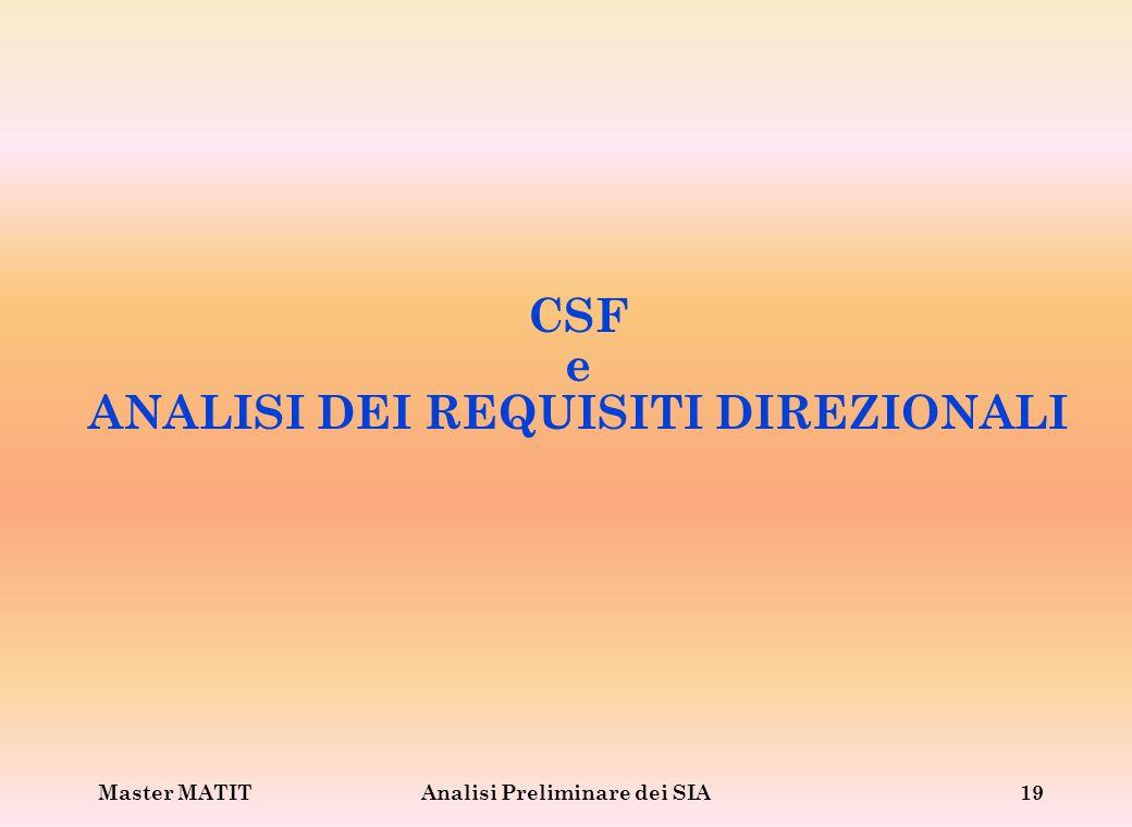 Master MATITAnalisi Preliminare dei SIA19 CSF e ANALISI DEI REQUISITI DIREZIONALI