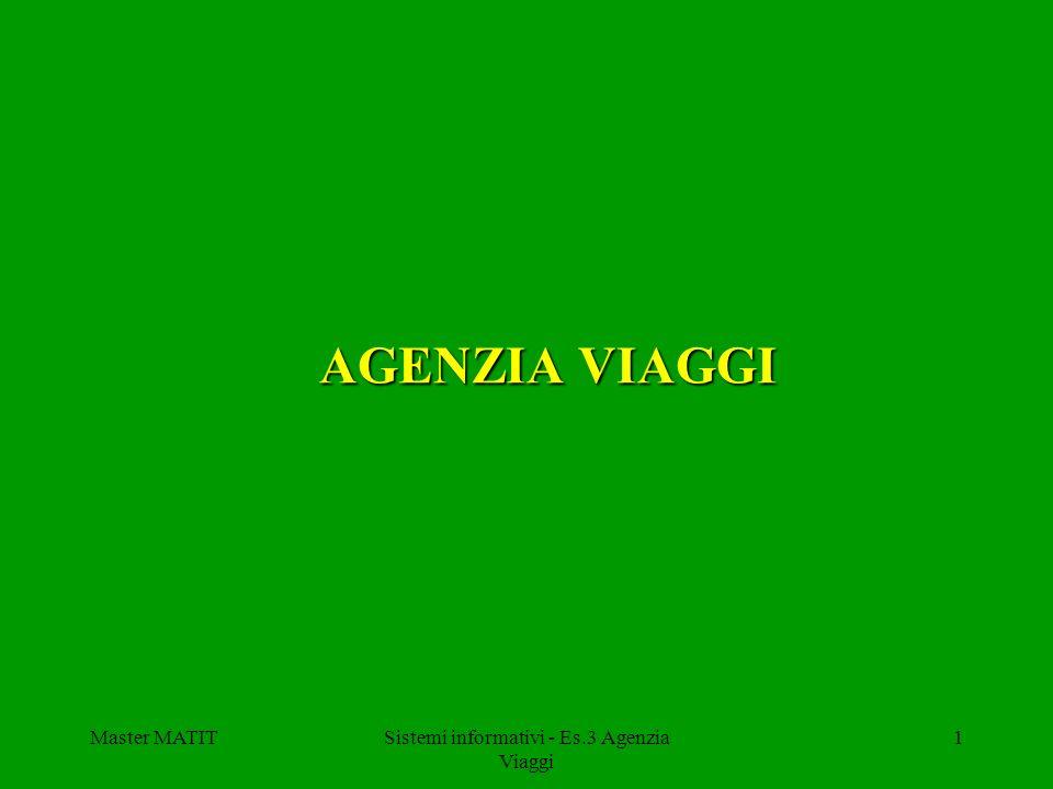 Master MATITSistemi informativi - Es.3 Agenzia Viaggi 1 AGENZIA VIAGGI