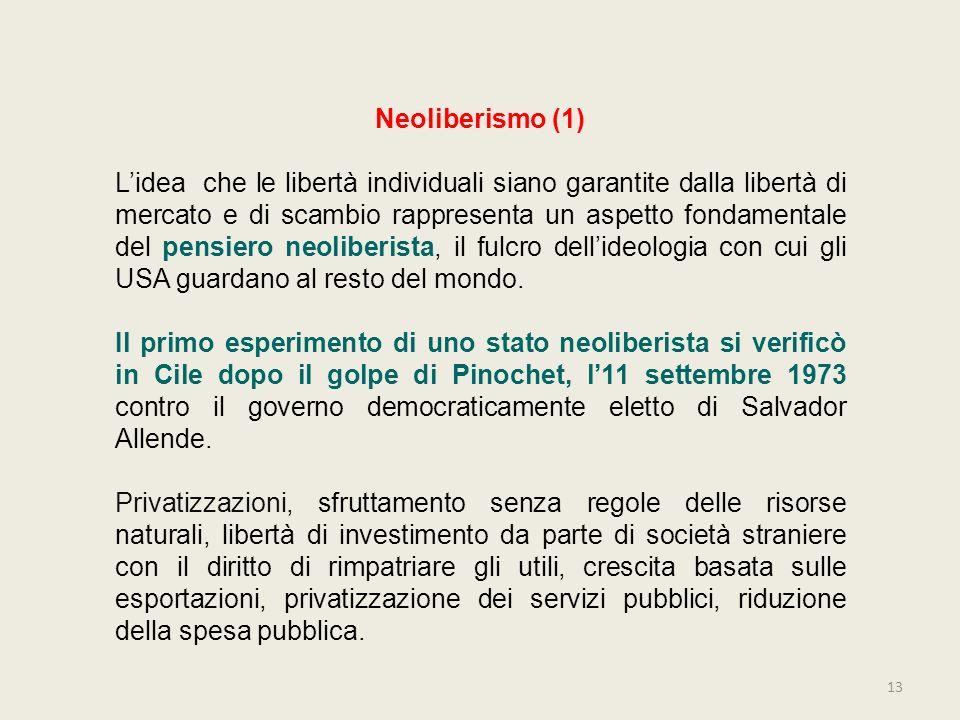 13 Neoliberismo (1) Lidea che le libertà individuali siano garantite dalla libertà di mercato e di scambio rappresenta un aspetto fondamentale del pen
