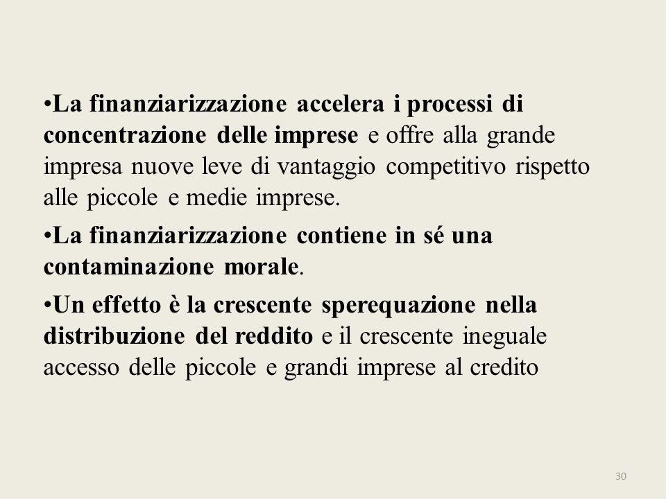 La finanziarizzazione accelera i processi di concentrazione delle imprese e offre alla grande impresa nuove leve di vantaggio competitivo rispetto all