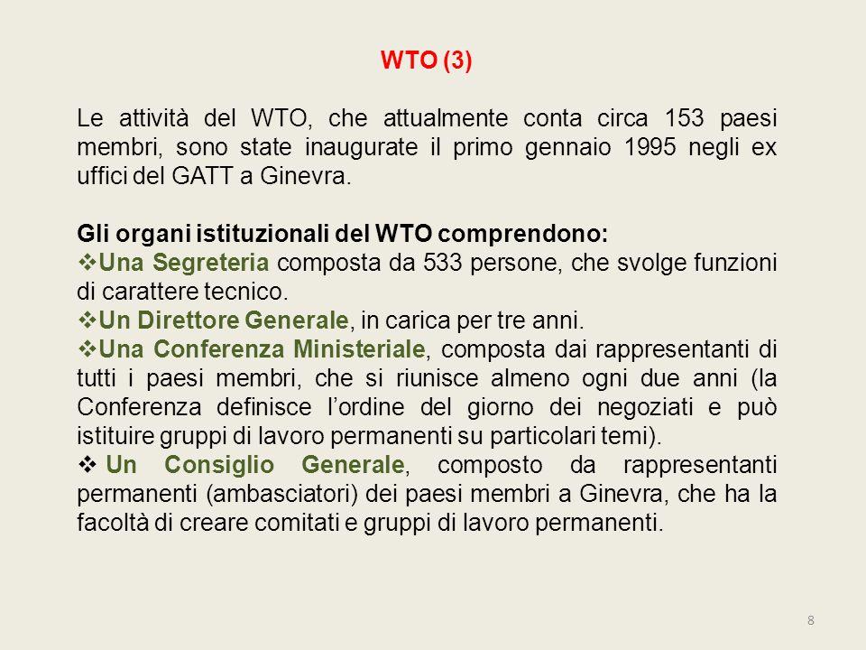 WTO (3) Le attività del WTO, che attualmente conta circa 153 paesi membri, sono state inaugurate il primo gennaio 1995 negli ex uffici del GATT a Gine