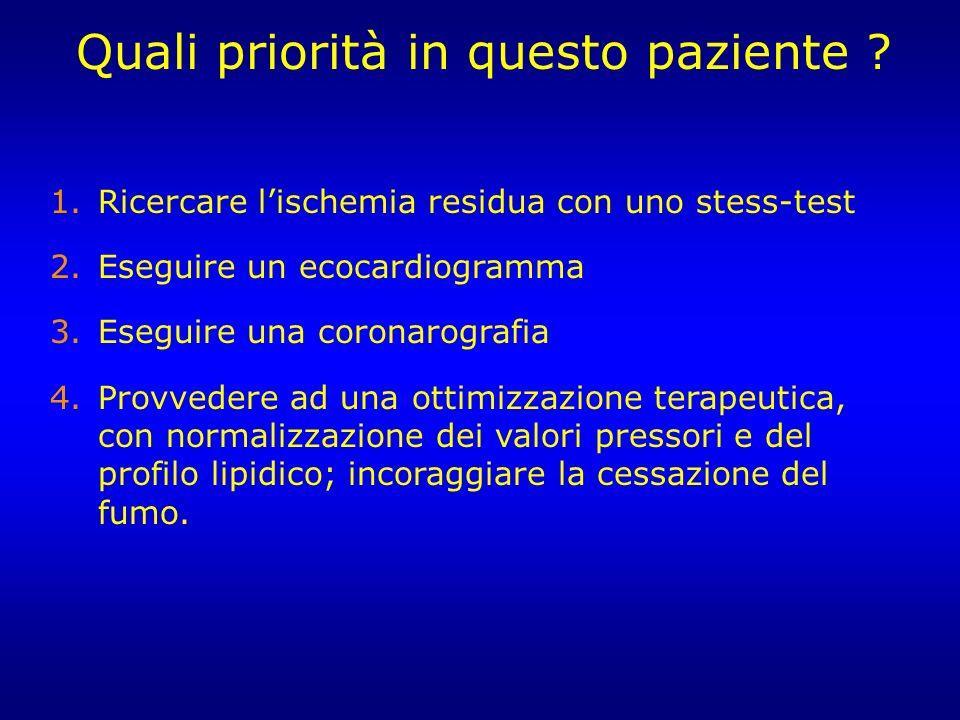 1.Ricercare lischemia residua con uno stess-test 2.Eseguire un ecocardiogramma 3.Eseguire una coronarografia 4.Provvedere ad una ottimizzazione terape