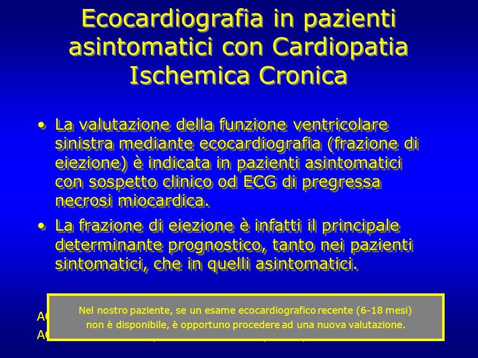 Ecocardiografia in pazienti asintomatici con Cardiopatia Ischemica Cronica La valutazione della funzione ventricolare sinistra mediante ecocardiografi