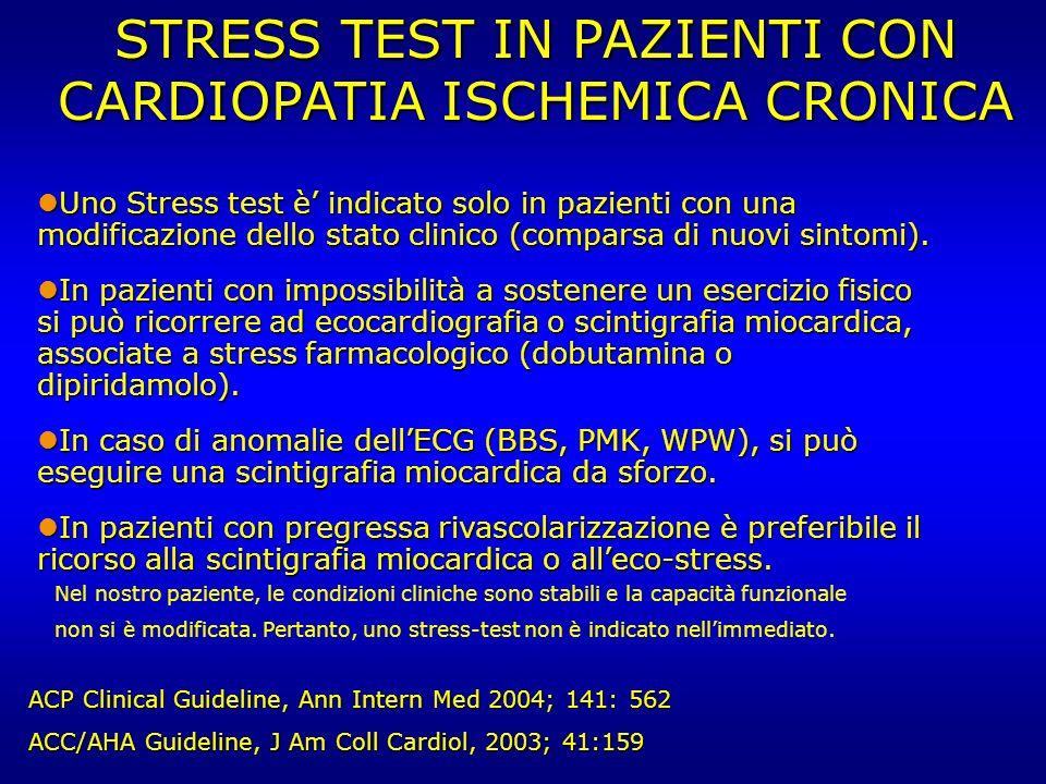 STRESS TEST IN PAZIENTI CON CARDIOPATIA ISCHEMICA CRONICA Uno Stress test è indicato solo in pazienti con una modificazione dello stato clinico (compa