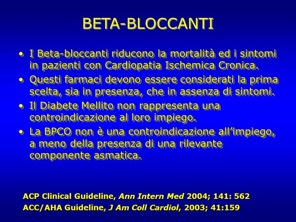 BETA-BLOCCANTI I Beta-bloccanti riducono la mortalità ed i sintomi in pazienti con Cardiopatia Ischemica Cronica.I Beta-bloccanti riducono la mortalit