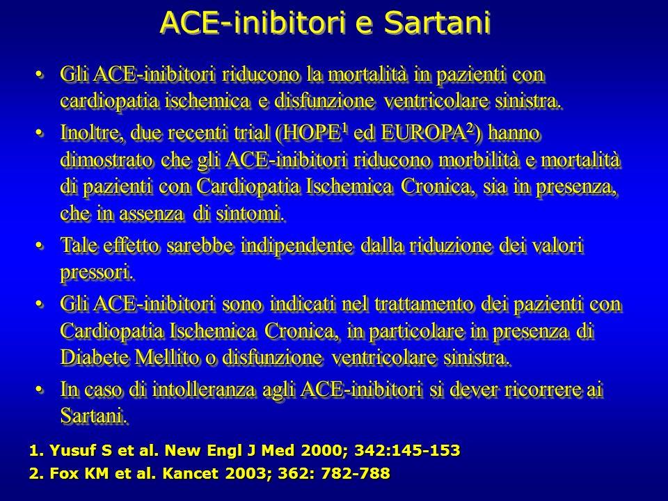 ACE-inibitori e Sartani Gli ACE-inibitori riducono la mortalità in pazienti con cardiopatia ischemica e disfunzione ventricolare sinistra.Gli ACE-inib