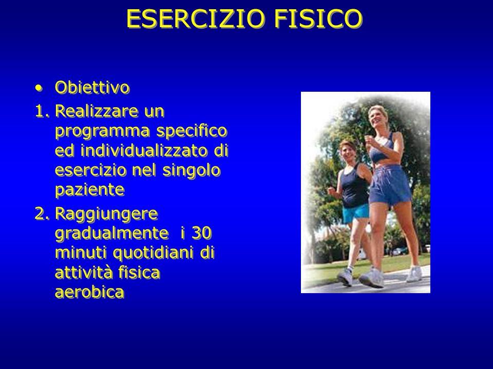 ESERCIZIO FISICO Obiettivo 1.Realizzare un programma specifico ed individualizzato di esercizio nel singolo paziente 2.Raggiungere gradualmente i 30 m