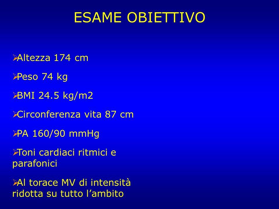 Altezza 174 cm Peso 74 kg BMI 24.5 kg/m2 Circonferenza vita 87 cm PA 160/90 mmHg Toni cardiaci ritmici e parafonici Al torace MV di intensità ridotta