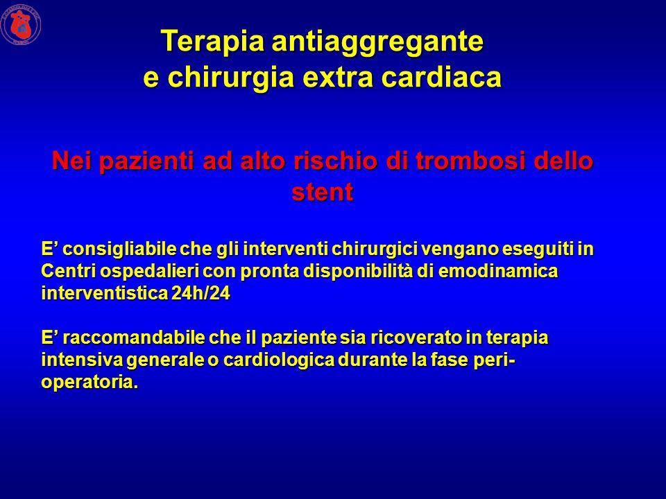 Nei pazienti ad alto rischio di trombosi dello stent E consigliabile che gli interventi chirurgici vengano eseguiti in Centri ospedalieri con pronta d