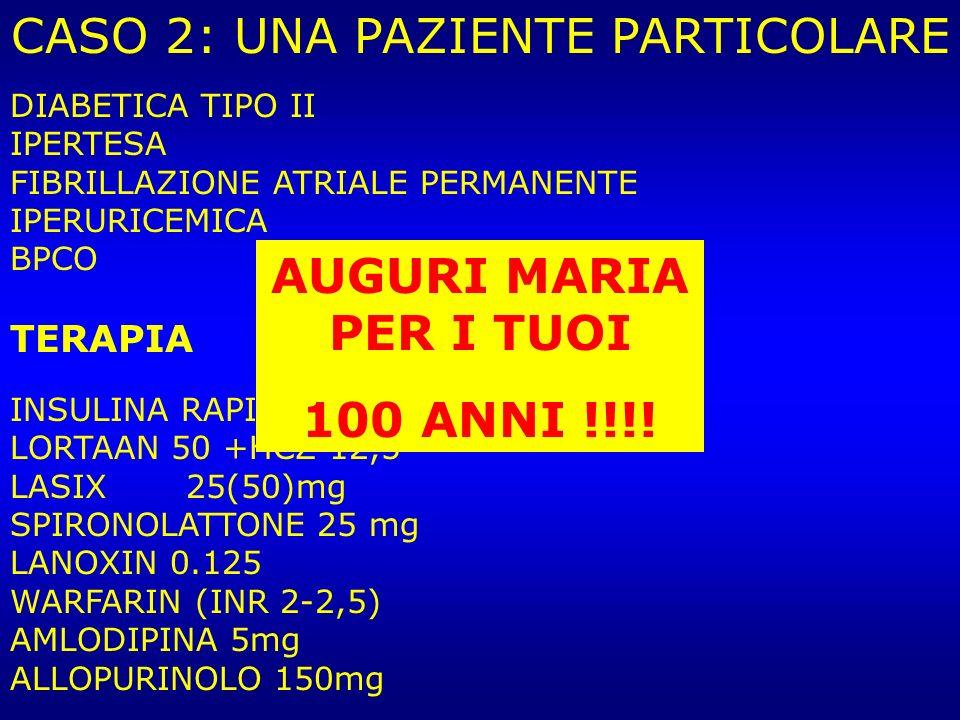 DIABETICA TIPO II IPERTESA FIBRILLAZIONE ATRIALE PERMANENTE IPERURICEMICA BPCO TERAPIA INSULINA RAPIDA 3 AL DI LORTAAN 50 +HCZ 12,5 LASIX 25(50)mg SPI