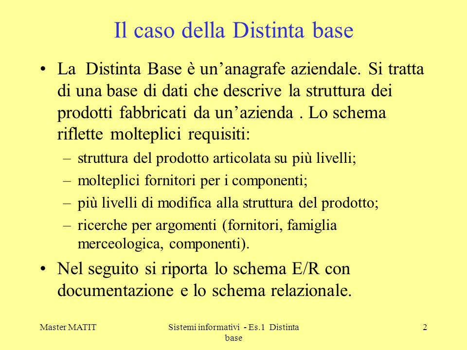 Master MATITSistemi informativi - Es.1 Distinta base 3 Lo schema E/R della distinta base FAM IND FORMOD MAT LM FM STR (1,N) (1,1) (0,N) (1,N) (0,N) Codice-famiglia Codice-materiale Codice-modifica Codice-fornitore