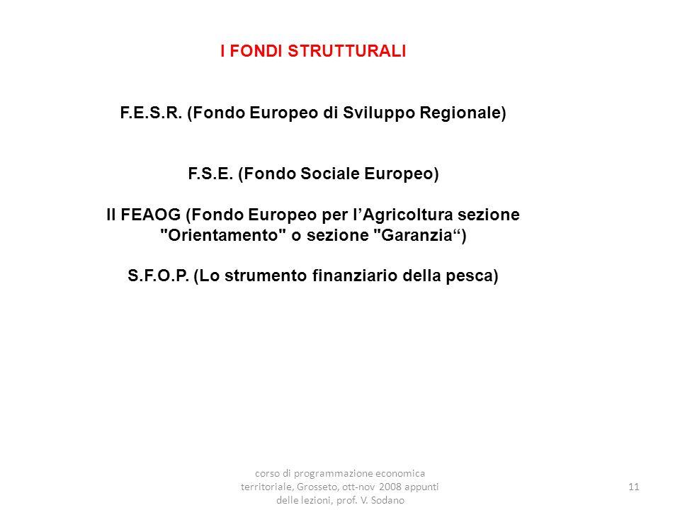 I FONDI STRUTTURALI F.E.S.R. (Fondo Europeo di Sviluppo Regionale) F.S.E.