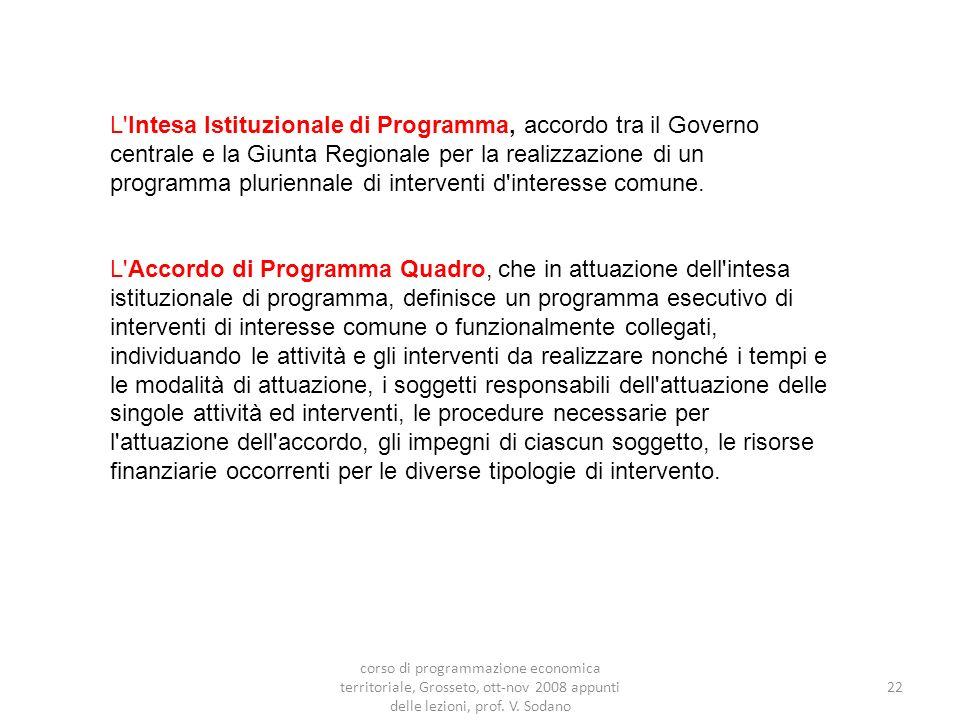 22 L Intesa Istituzionale di Programma, accordo tra il Governo centrale e la Giunta Regionale per la realizzazione di un programma pluriennale di interventi d interesse comune.