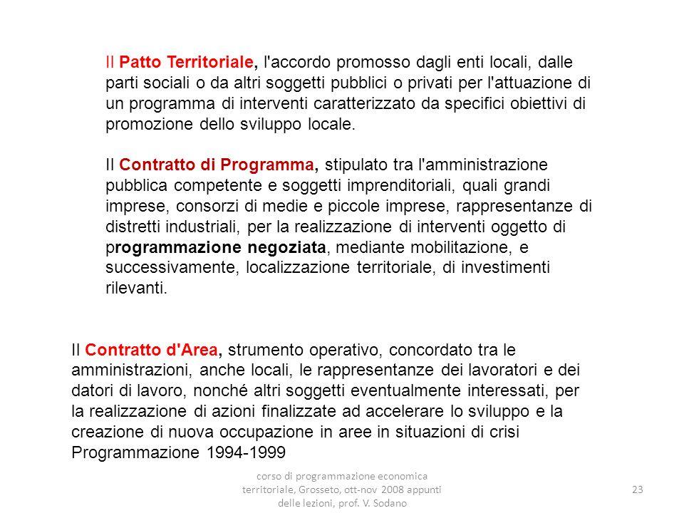 23 Il Patto Territoriale, l accordo promosso dagli enti locali, dalle parti sociali o da altri soggetti pubblici o privati per l attuazione di un programma di interventi caratterizzato da specifici obiettivi di promozione dello sviluppo locale.