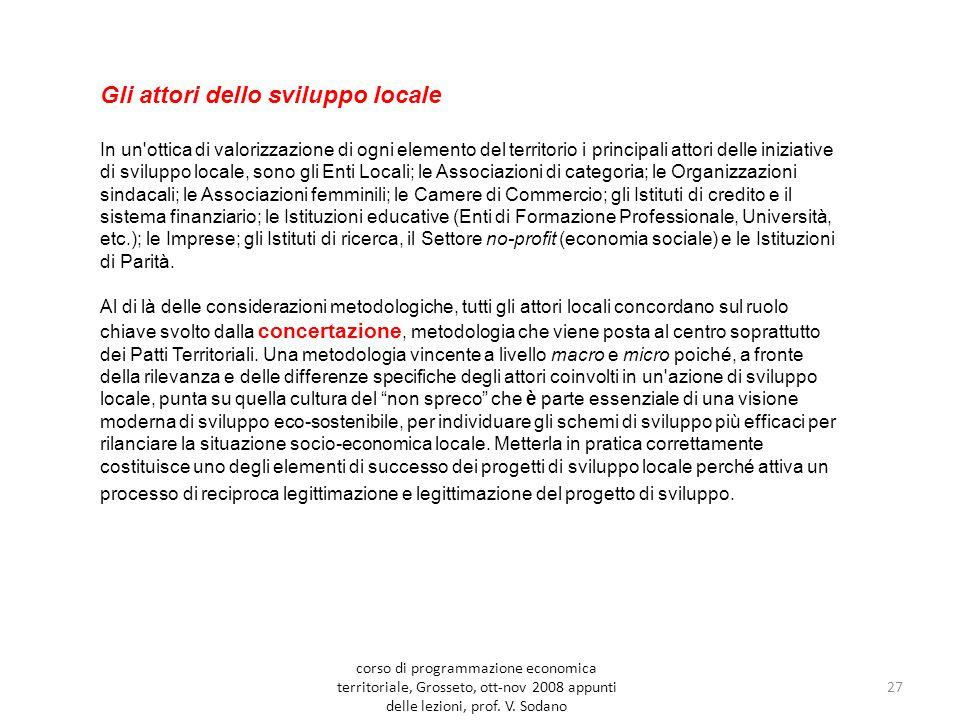 27 Gli attori dello sviluppo locale In un ottica di valorizzazione di ogni elemento del territorio i principali attori delle iniziative di sviluppo locale, sono gli Enti Locali; le Associazioni di categoria; le Organizzazioni sindacali; le Associazioni femminili; le Camere di Commercio; gli Istituti di credito e il sistema finanziario; le Istituzioni educative (Enti di Formazione Professionale, Università, etc.); le Imprese; gli Istituti di ricerca, il Settore no-profit (economia sociale) e le Istituzioni di Parità.