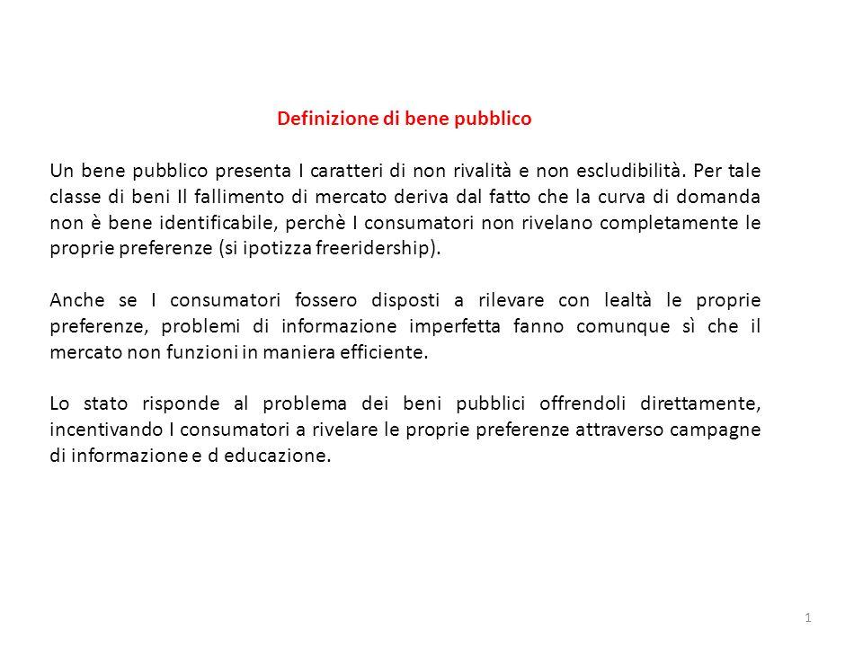 Definizione di bene pubblico Un bene pubblico presenta I caratteri di non rivalità e non escludibilità. Per tale classe di beni Il fallimento di merca