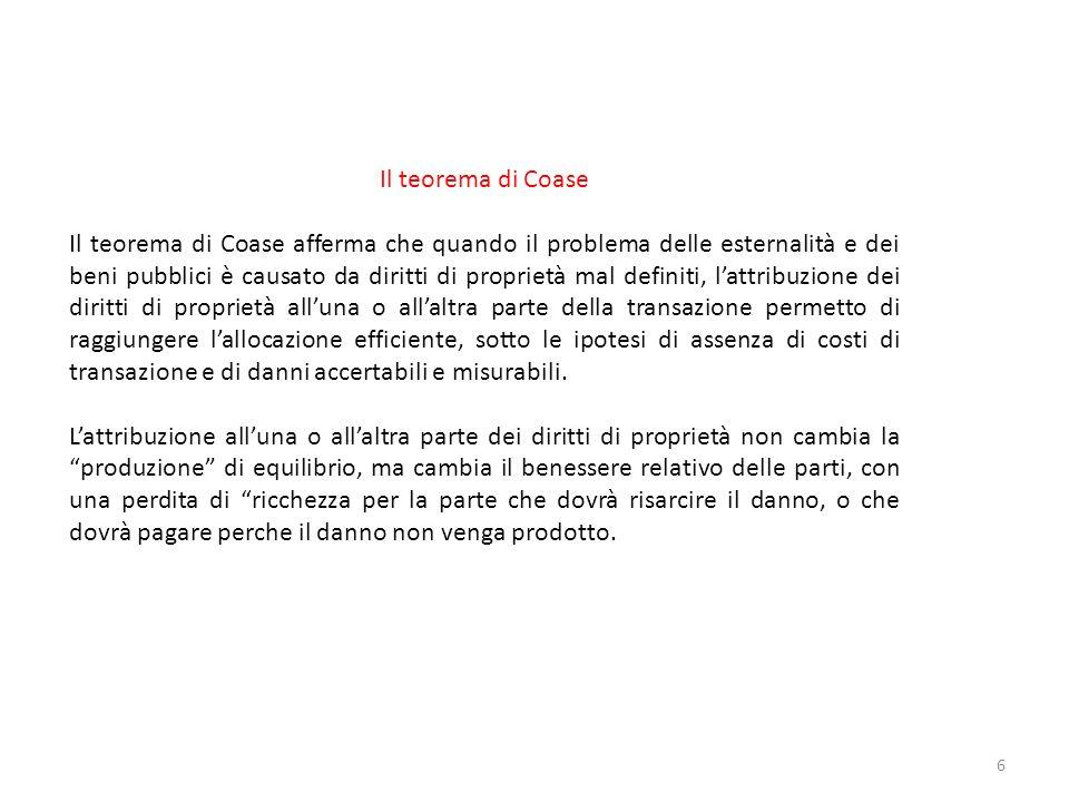 Il teorema di Coase Il teorema di Coase afferma che quando il problema delle esternalità e dei beni pubblici è causato da diritti di proprietà mal def