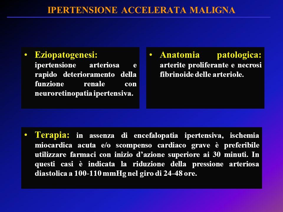 IPERTENSIONE ACCELERATA MALIGNA Eziopatogenesi: ipertensione arteriosa e rapido deterioramento della funzione renale con neuroretinopatia ipertensiva.