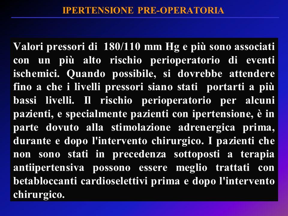 IPERTENSIONE PRE-OPERATORIA Valori pressori di 180/110 mm Hg e più sono associati con un più alto rischio perioperatorio di eventi ischemici. Quando p