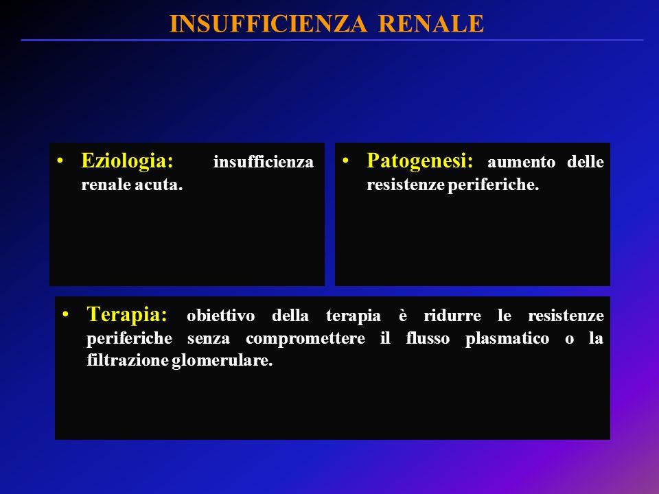 INSUFFICIENZA RENALE Eziologia: insufficienza renale acuta. Patogenesi: aumento delle resistenze periferiche. Terapia: obiettivo della terapia è ridur