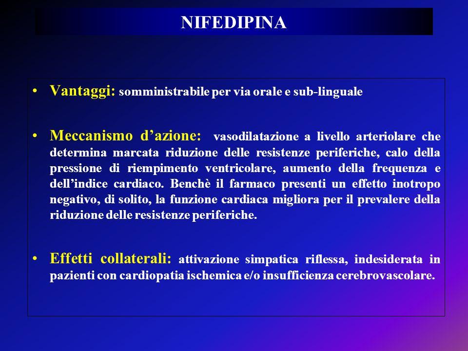 NIFEDIPINA Vantaggi: somministrabile per via orale e sub-linguale Meccanismo dazione: vasodilatazione a livello arteriolare che determina marcata ridu