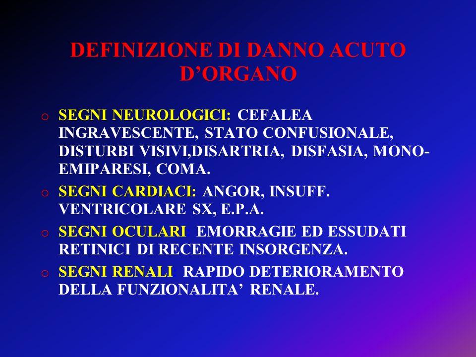 DEFINIZIONE DI DANNO ACUTO DORGANO o SEGNI NEUROLOGICI o SEGNI NEUROLOGICI: CEFALEA INGRAVESCENTE, STATO CONFUSIONALE, DISTURBI VISIVI,DISARTRIA, DISF