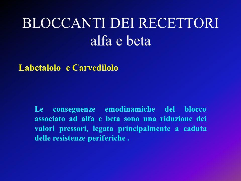 BLOCCANTI DEI RECETTORI alfa e beta Labetalolo e Carvedilolo Le conseguenze emodinamiche del blocco associato ad alfa e beta sono una riduzione dei va