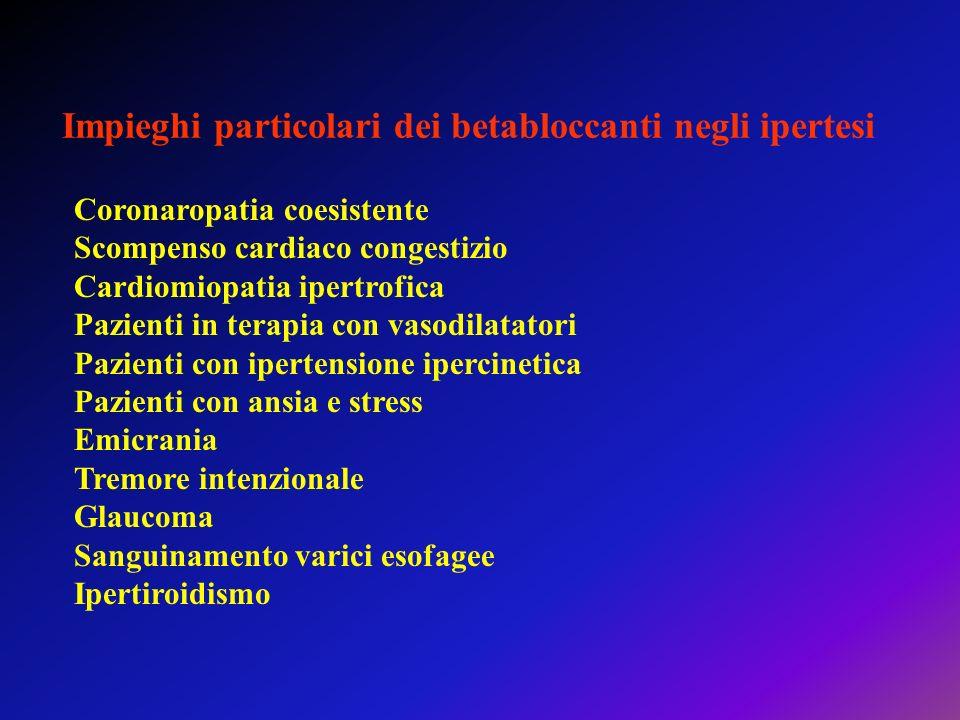 Impieghi particolari dei betabloccanti negli ipertesi Coronaropatia coesistente Scompenso cardiaco congestizio Cardiomiopatia ipertrofica Pazienti in