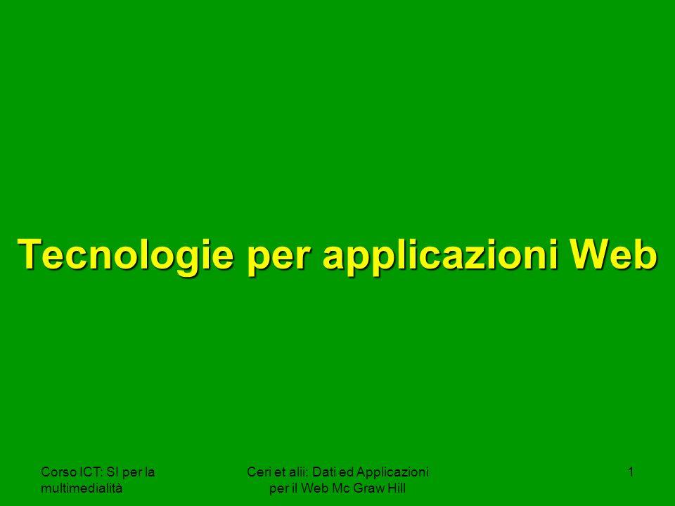 Corso ICT: SI per la multimedialità Ceri et alii: Dati ed Applicazioni per il Web Mc Graw Hill 42 Esempio VBscript Esempio VBscript Textbox <INPUT type=textbox name=TextBox1 language=VBS size=20> Bottone <INPUT type=button value=Ciao! language=VBS name= HelloButton onClick= OnClick_Button > <!-- Sub OnClick_Button TextBox1.Value=Ciao a tutti End Sub -->