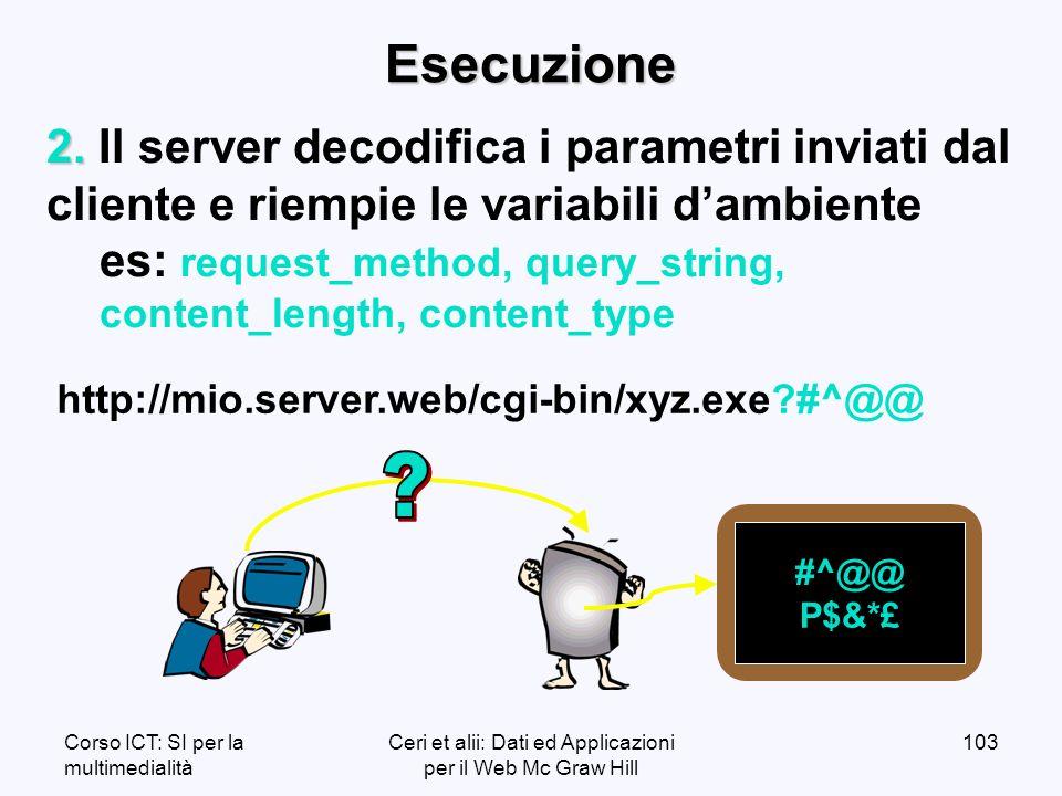 Corso ICT: SI per la multimedialità Ceri et alii: Dati ed Applicazioni per il Web Mc Graw Hill 103Esecuzione 2.