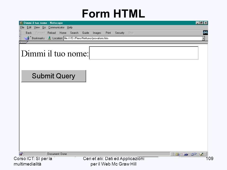 Corso ICT: SI per la multimedialità Ceri et alii: Dati ed Applicazioni per il Web Mc Graw Hill 109 Form HTML