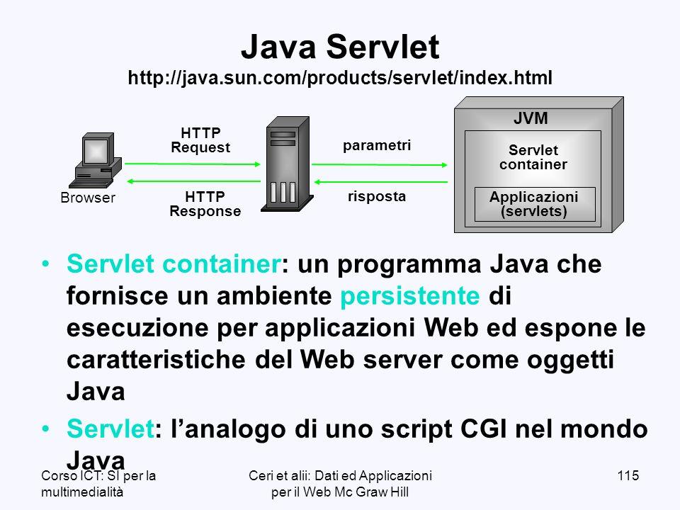 Corso ICT: SI per la multimedialità Ceri et alii: Dati ed Applicazioni per il Web Mc Graw Hill 115 Java Servlet http://java.sun.com/products/servlet/index.html Servlet container: un programma Java che fornisce un ambiente persistente di esecuzione per applicazioni Web ed espone le caratteristiche del Web server come oggetti Java Servlet: lanalogo di uno script CGI nel mondo Java HTTP Request HTTP Response Browser Servlet container Applicazioni (servlets) JVM parametri risposta