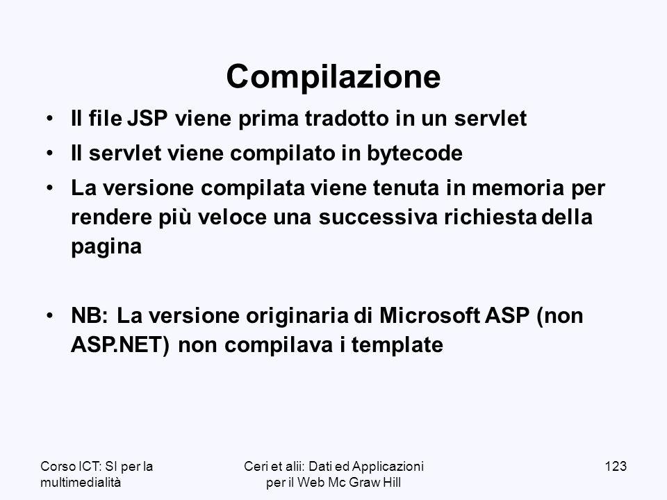 Corso ICT: SI per la multimedialità Ceri et alii: Dati ed Applicazioni per il Web Mc Graw Hill 123 Il file JSP viene prima tradotto in un servlet Il servlet viene compilato in bytecode La versione compilata viene tenuta in memoria per rendere più veloce una successiva richiesta della pagina NB: La versione originaria di Microsoft ASP (non ASP.NET) non compilava i template Compilazione