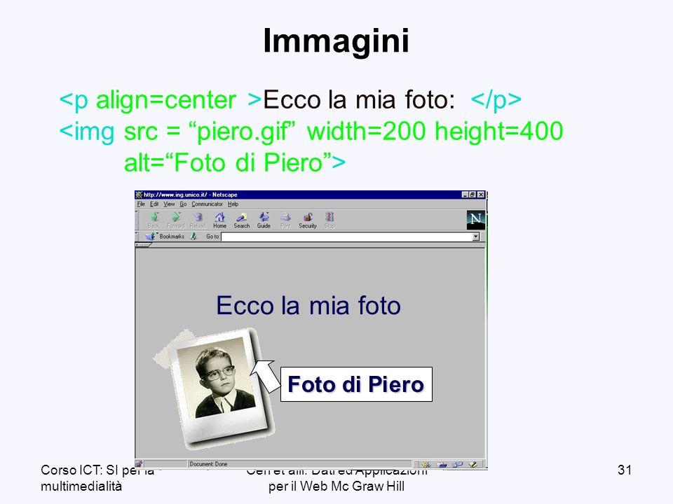 Corso ICT: SI per la multimedialità Ceri et alii: Dati ed Applicazioni per il Web Mc Graw Hill 31 Immagini Ecco la mia foto: Ecco la mia foto Foto di Piero