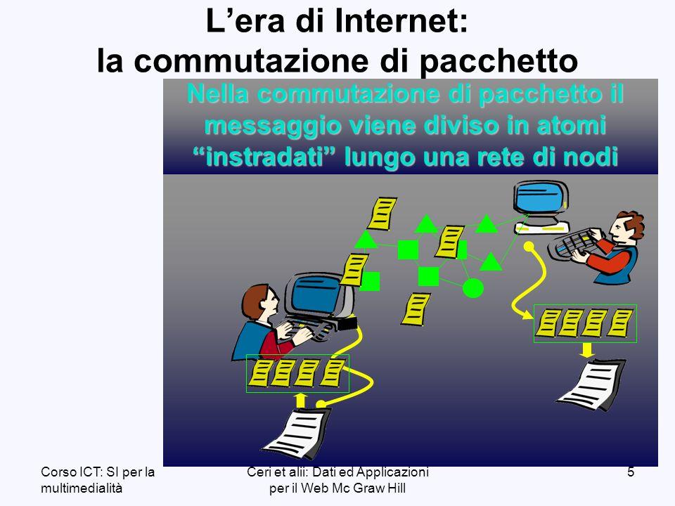 Corso ICT: SI per la multimedialità Ceri et alii: Dati ed Applicazioni per il Web Mc Graw Hill 5 Lera di Internet: la commutazione di pacchetto Nella commutazione di pacchetto il messaggio viene diviso in atomi instradati lungo una rete di nodi