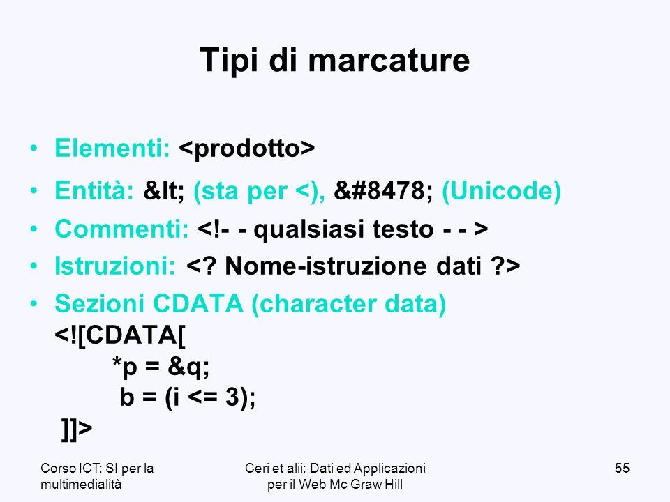 Corso ICT: SI per la multimedialità Ceri et alii: Dati ed Applicazioni per il Web Mc Graw Hill 55 Tipi di marcature Elementi: Entità: < (sta per <), ℞ (Unicode) Commenti: Istruzioni: Sezioni CDATA (character data)
