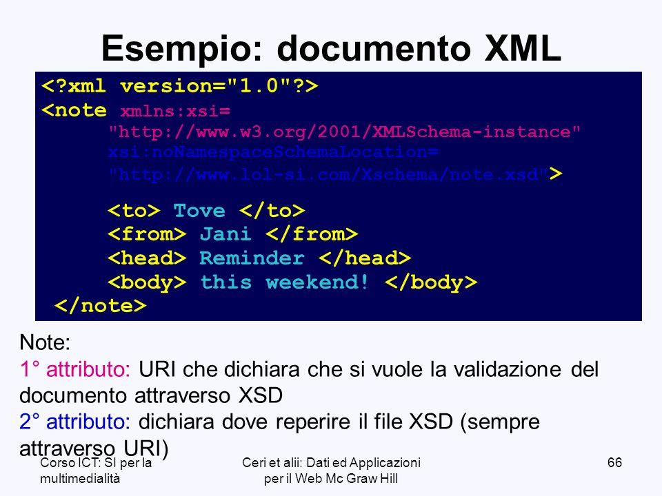 Corso ICT: SI per la multimedialità Ceri et alii: Dati ed Applicazioni per il Web Mc Graw Hill 66 Esempio: documento XML Tove Jani Reminder this weekend.