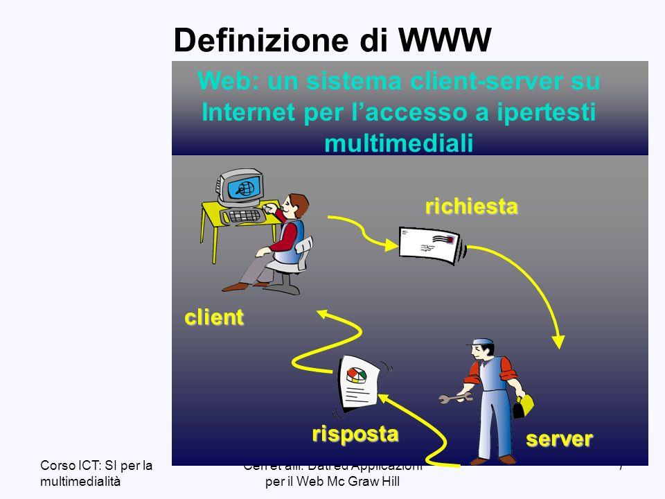 Corso ICT: SI per la multimedialità Ceri et alii: Dati ed Applicazioni per il Web Mc Graw Hill 108 Form HTML Esempio: invio al server il nome dellutente <form action=http://www.mysrvr.it/cgi-bin/xyz.exe method=post> Dimmi il tuo nome: