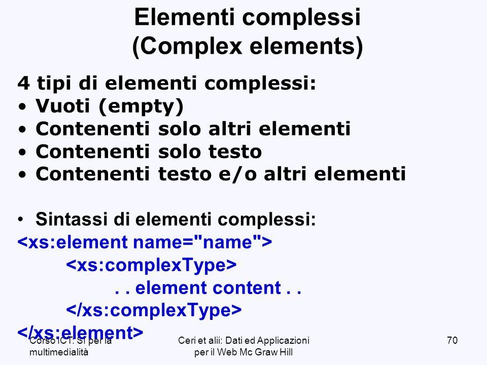 Corso ICT: SI per la multimedialità Ceri et alii: Dati ed Applicazioni per il Web Mc Graw Hill 70 Elementi complessi (Complex elements) 4 tipi di elementi complessi: Vuoti (empty) Contenenti solo altri elementi Contenenti solo testo Contenenti testo e/o altri elementi Sintassi di elementi complessi:..