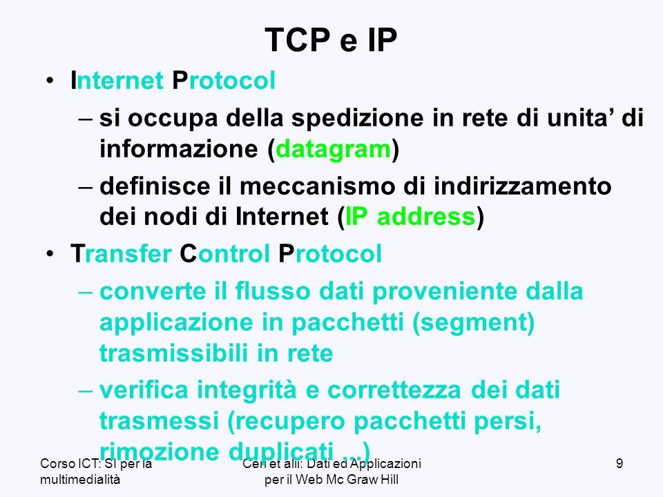 Corso ICT: SI per la multimedialità Ceri et alii: Dati ed Applicazioni per il Web Mc Graw Hill 9 TCP e IP Internet Protocol – –si occupa della spedizione in rete di unita di informazione (datagram) – –definisce il meccanismo di indirizzamento dei nodi di Internet (IP address) Transfer Control Protocol – –converte il flusso dati proveniente dalla applicazione in pacchetti (segment) trasmissibili in rete – –verifica integrità e correttezza dei dati trasmessi (recupero pacchetti persi, rimozione duplicati...)