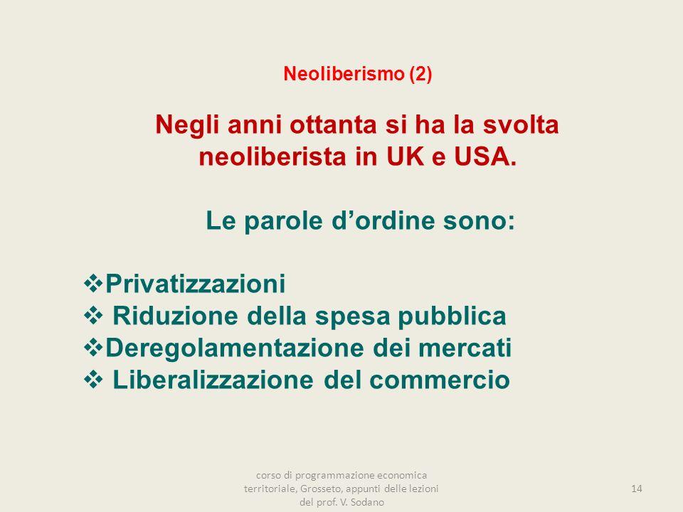 14 Neoliberismo (2) Negli anni ottanta si ha la svolta neoliberista in UK e USA.