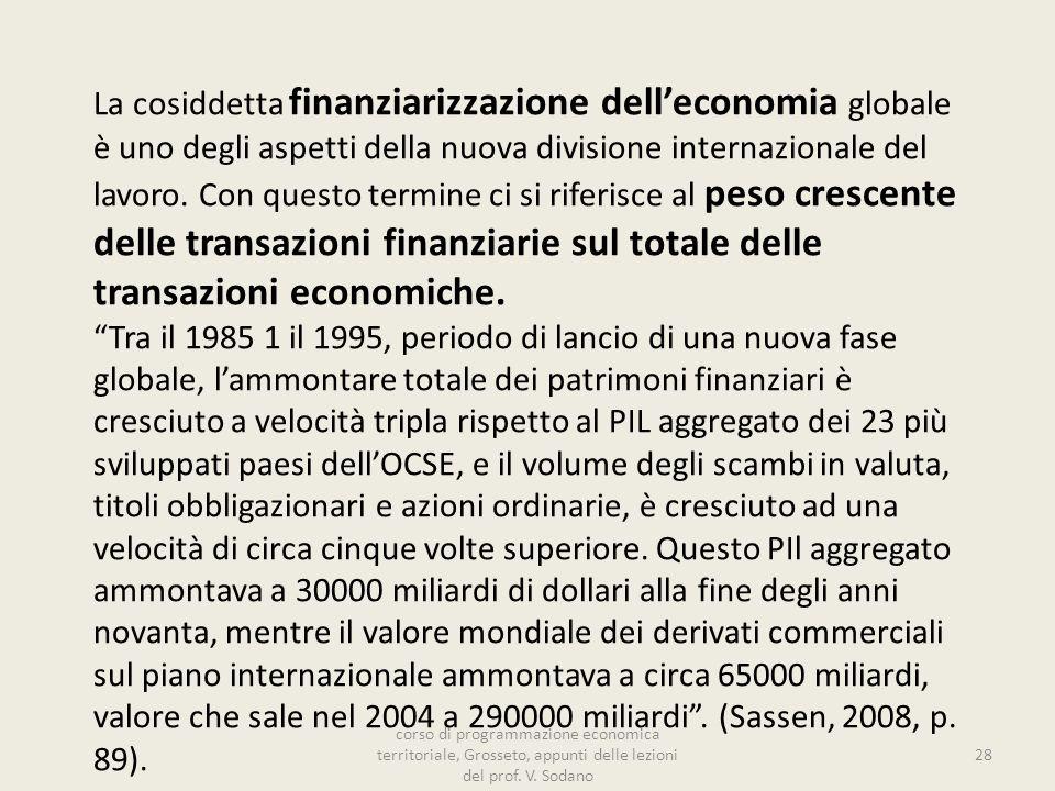 La cosiddetta finanziarizzazione delleconomia globale è uno degli aspetti della nuova divisione internazionale del lavoro.